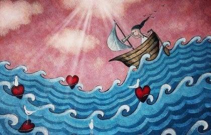 Lille båd på hav af kærlighed og følelser