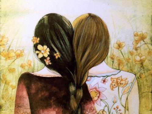 Piger med sammenflettet hår illustrerer forbindelsens psykologi