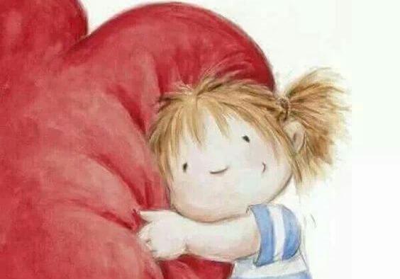 Pige krammer stort hjerte