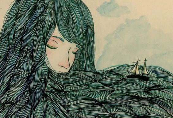 Både sejler i en kvindes hår
