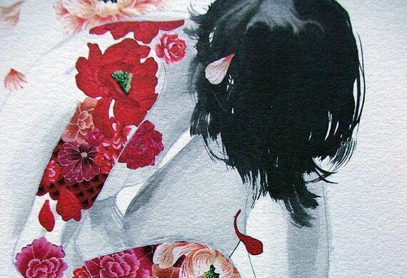 Tegning af en kvinde med sort hår og røde blomster på hendes krop