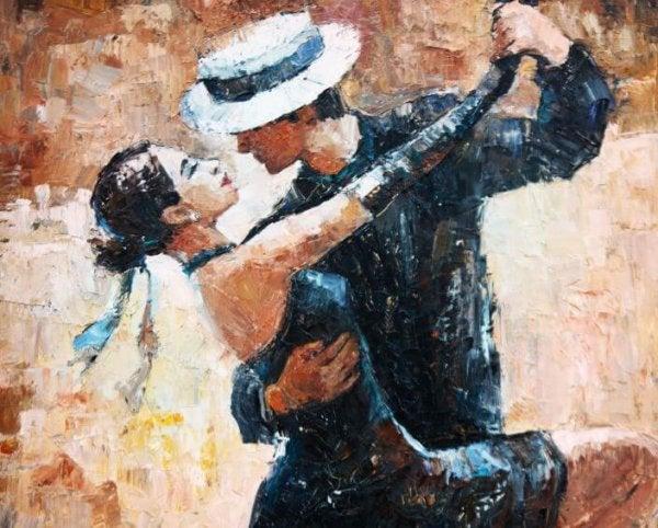 Maleri af et par, der danser