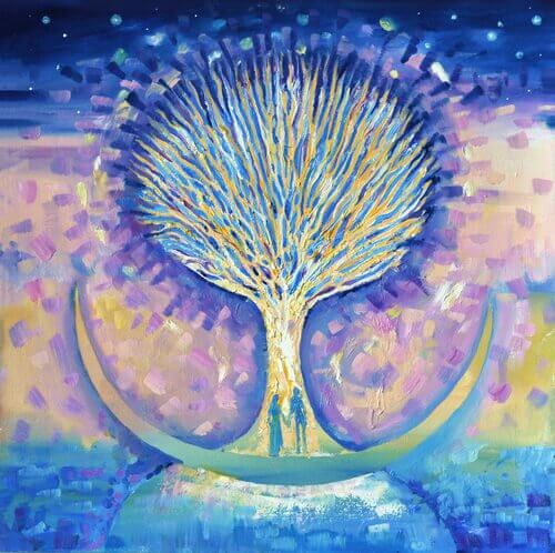 Et malet træ med et par på stammen