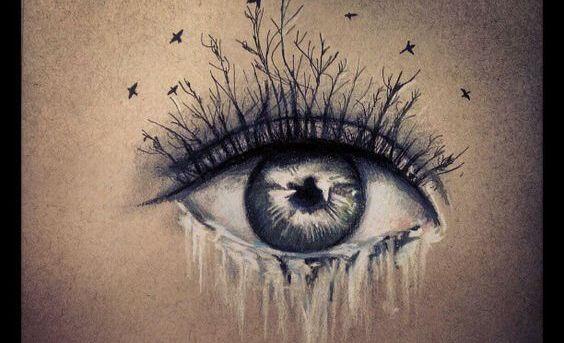 Et øje med træer som øjenvipper og en flod, der strømmer som tårer