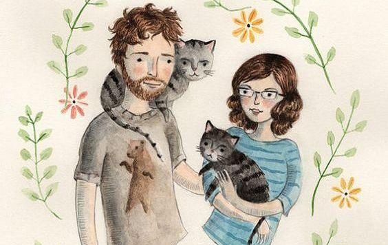 Tegning af et par med to katte