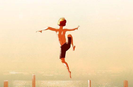 Hoppende dreng, lykke, ulykkelig, personlig triumf. Gør det andre siger du ikke kan