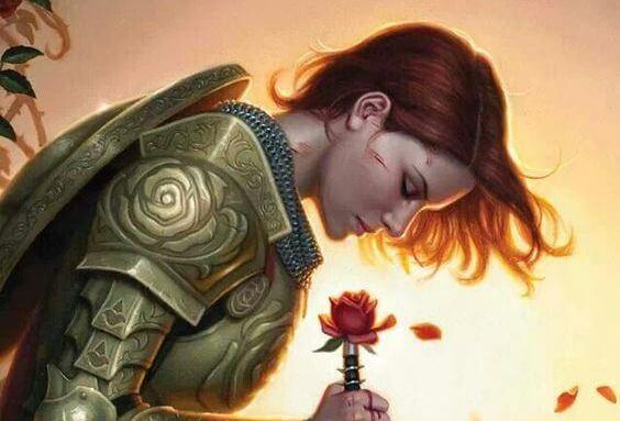 Kvinde i rustning dufter til rose