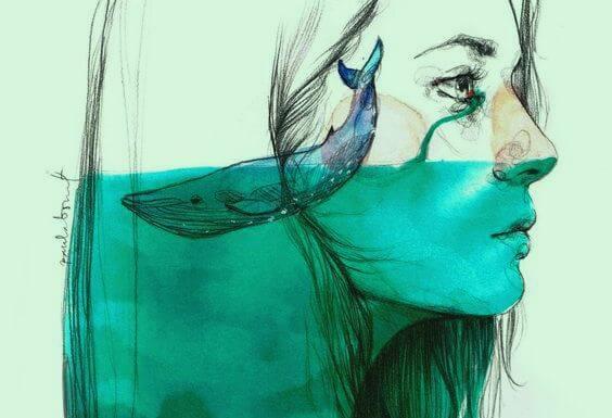 Kvinde græder et hav til en hval med ønsket om at ændre verden til det bedre