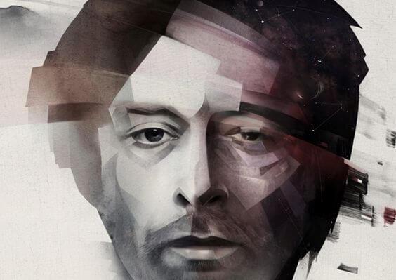Maleri af mand, der kæmper med indre dialoger