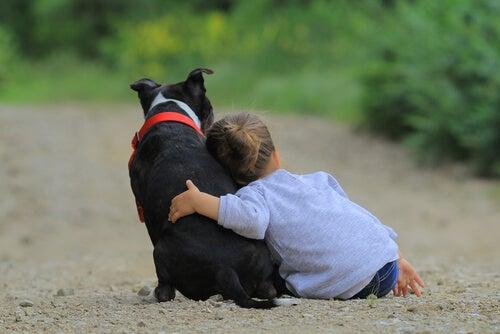 En hund og en pige viser det tætte bånd mellem børn og dyr
