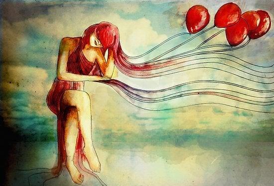 """Kvinde med røde balloner siger """"følg dine drømme"""""""