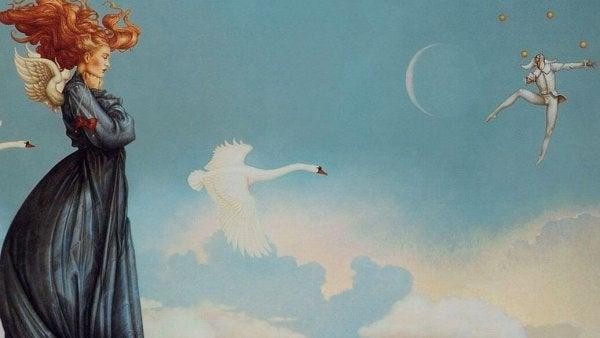 Kvinde foran himmel med svane