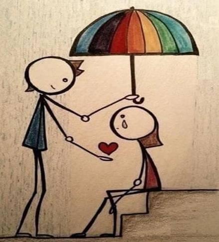Dreng holder paraply over pige og giver hende et hjerte