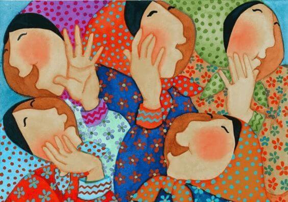 Kvinders ansigter og farverige tøj symboliserer autentiske mennesker