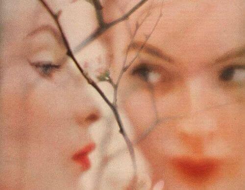 To kvindelige ansigter bag grene