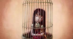 Pige i bur