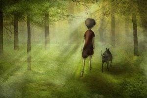 Dreng går i skov med hund