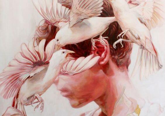 """Mand med fugle omkring hovedet, der skriger til ham """"tænk"""""""