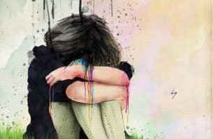 Person græder og bliver syge af undertrykte følelser