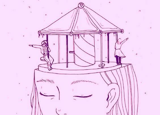 En kvinde har karrusel som hjerne, fordi hun ikke vil hvile sig