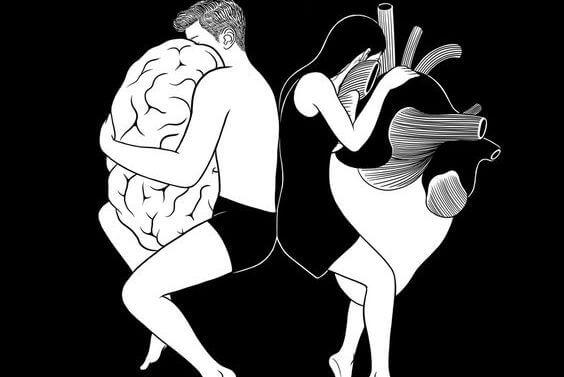 Mand og kvinde krammer henholdsvis hjerne og hjerte