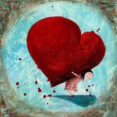 Person bærer hjerte på ryg og falder ikke