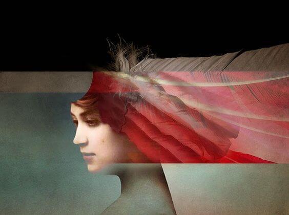 Kvinde med hår af røde fjer
