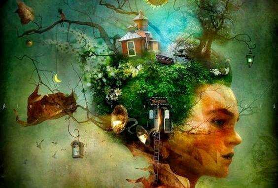 Kvinde med hus og skov på hovedet symboliserer hendes drømme