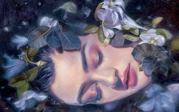 Kvinde med blomster behersker indre fred