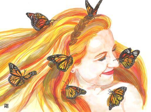 Kvinde sender sommerfugle et smil