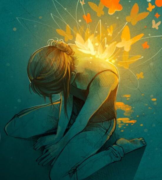 Kvinde med lysende sommerfugle på ryggen giver slip på vrede