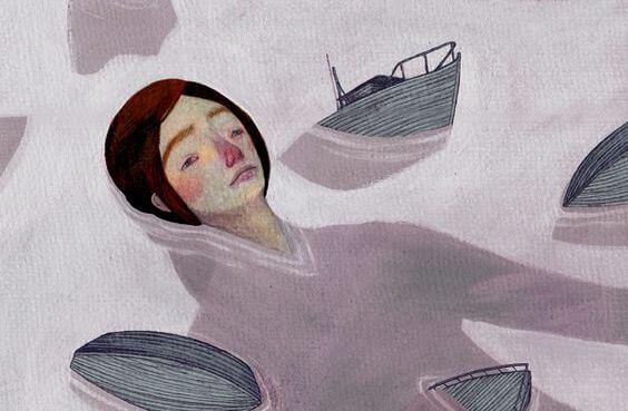 Kvinde drukner blandt små skibe