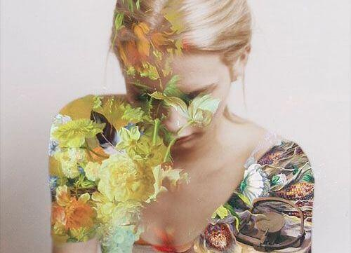 Kvinde med blomster på kroppen symboliserer personer med magi