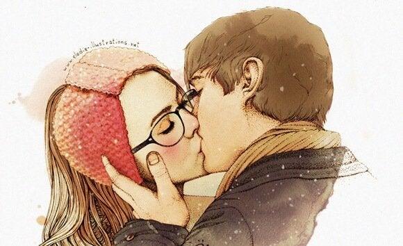Et par viser romantik gennem kys