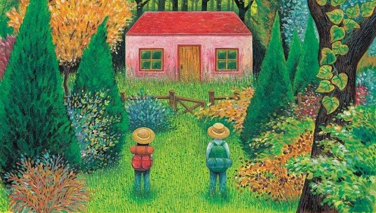 To mennesker kigger på et hus i en skov