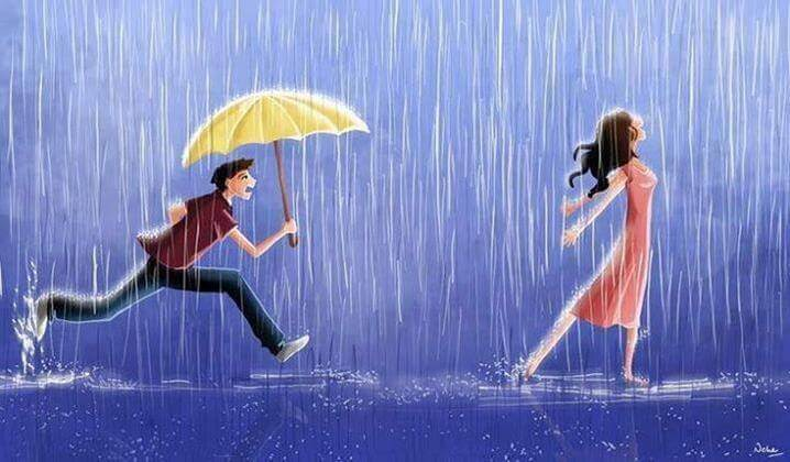 Mand med paraply løber efter kvinde i regn