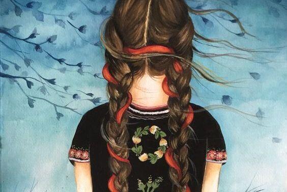 Pige med lange fletninger