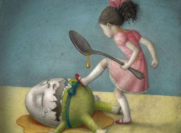 Pige slås mod æg