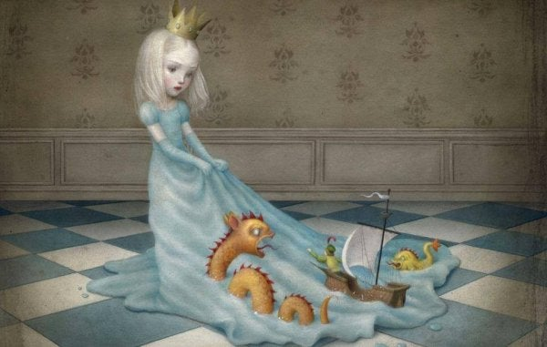 Pige med prinsessekrone og havdyr og skib på sin kjole