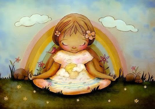 """Pige mediterer foran regnbue og siger til sig selv """"græd ikke"""""""