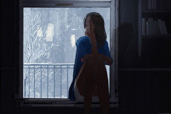 Pige i vindue overvejer at gå fra det hele