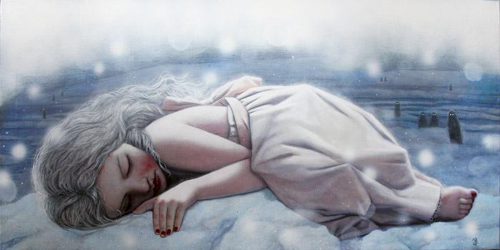 Pige ligger sammenkrøllet i sne i sorg over ikke at kunne tilgive gerningsmanden