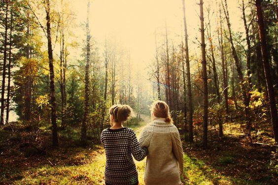 Venner går tur i skov