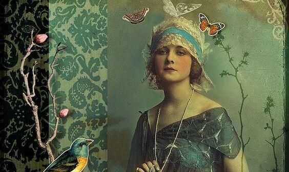 Gammeldags kvinde med hat på og sommerfugle flyvende omkring udtrykker en stor værdighed