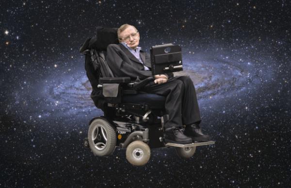 Stephen Hawking i kørestol foran univers
