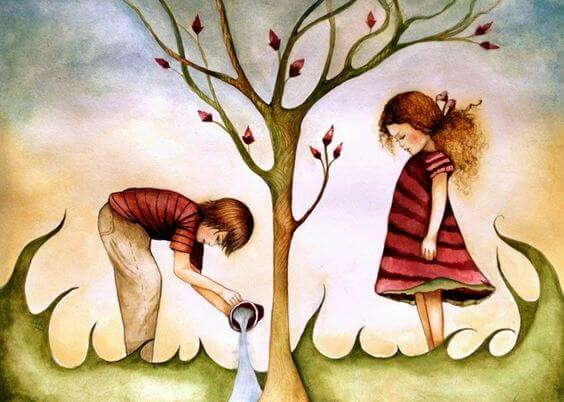 Børn vander et træ