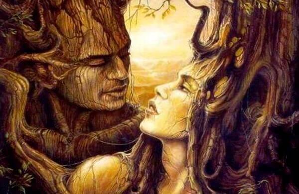 En kvinde og en mand lavet af træ