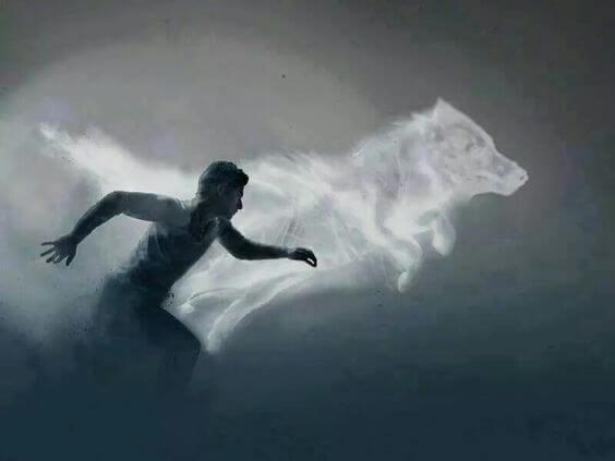 Mand springer med ulv