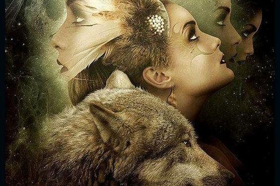 Kvindeansigt og ulv