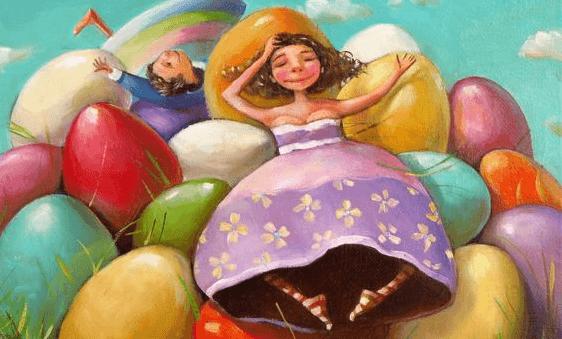 Børn sidder på bjerg af farvestrålende æg
